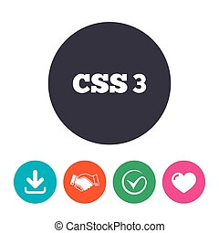 CSS3 sign icon Cascading Style Sheets symbol Download arrow,...