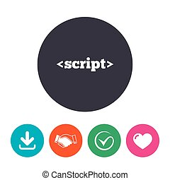 Script sign icon. Javascript code symbol. Download arrow,...