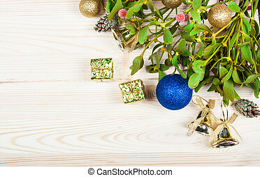 Christmas background border with gold bauble decorations