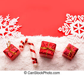 Gifts on red - Red gift boxes with white snow shot