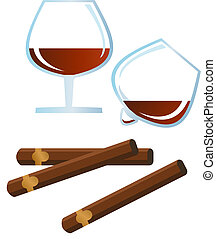 Brandy and Cigar - Clip-arts of brandy, rum and cigar