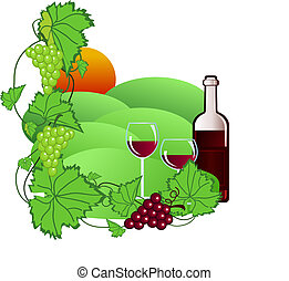 Vineyard - Illustration of wine and vineyard
