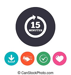 Every 15 minutes sign icon. Full rotation arrow. - Every 15...