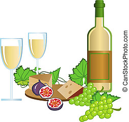 Wine - Illustration with wine and fruits