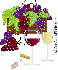 Wine and Grape - Illustration with wine and grapes