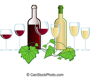 Wine - Illustration with wine and glasses