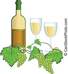 Wine - Illustration with wine and grapes