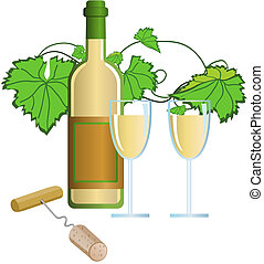 Wine - Illustration with wine and corkscrew
