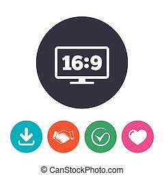 Aspect ratio 16:9 widescreen tv Monitor symbol - Aspect...