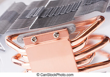 Computer processor cooler or radiator - Close-up of modern...