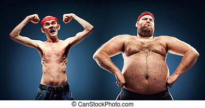 Funny body builders - Funny team of fat and thin geeks show...