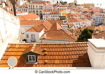 European city roofs - Panoramic view of the european city...