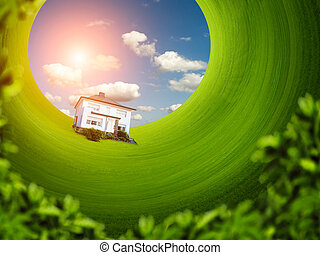 House on the green lawn - Microcosm of single house on the...