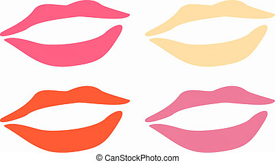 Lips - Simple illustration of pink red gold and purple...