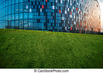 Modern building facade fragment