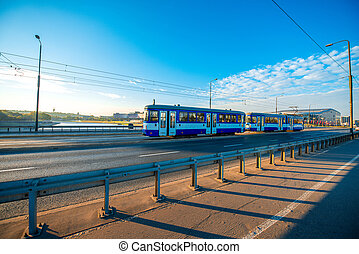 Tram on the Bridge in Krakow - Old blue Tram on the...