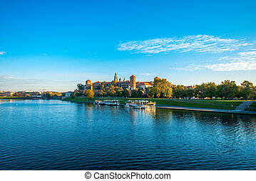 Beautiful view on Vistula river near Wawel castle in Krakow...