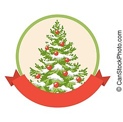 Christmas Winter Label Icon with Decoration Evergreen Tree...