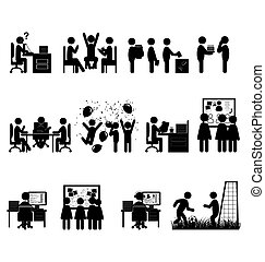 Set of flat office internal communications icons isolated on...