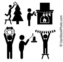 Set of Christmas Decoration Home Flat Black Pictograms People Ic