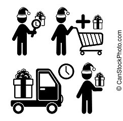 Set of Christmas Shopping Gifts Flat Black Pictograms People Ico