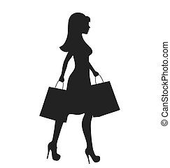 Black Icon Shopping Woman Silhouette with Bags Isolated on...