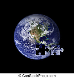 Earth the missing piece - A picture of the earth with jigsaw...