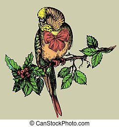 Parakeet with bow and mistletoe sitting on brunch...