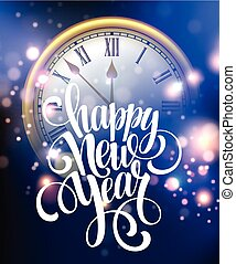 Vector 2016 Happy New Year background with clock. Vector...