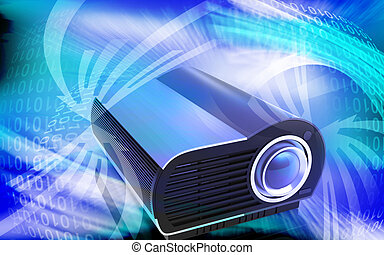 Multimedia Projector - Digital illustration of Multimedia...
