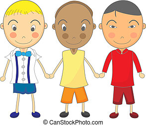 Cute Child Drawing of Multiracial Boys Holding Hands