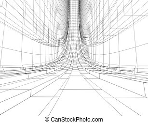 abstract wireframe construction - abstract futuristic...