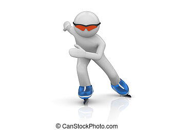 Oncoming Skater - 3d isolated characters on white background...
