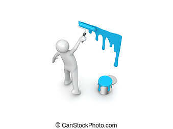 Painting the wall - 3d isolated characters on white...