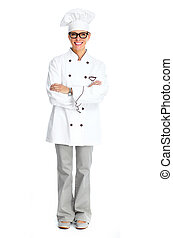 Chef woman - Beautiful Chef woman isolated over white...