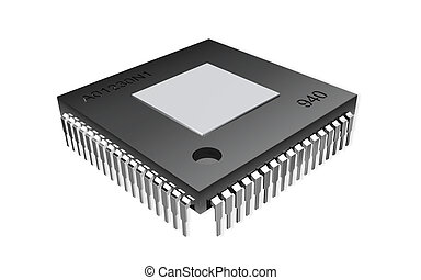 computer chip - Digital illustration of computer chip in...