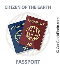Vector illustration of biometric passports with globe, citizen of earth concept