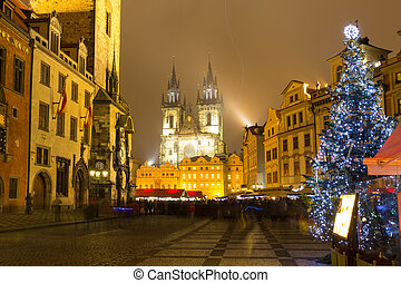 The Old Town Square in Prague at winter night, Christmas...