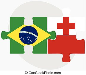 Brazil and Tonga Flags in puzzle isolated on white...