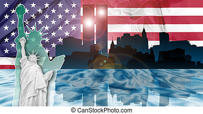 Twin Towers Attack - American patriotic composition of New...