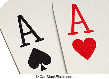 A pair of aces playing cards macro close up.