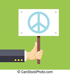 Hands holds sign with Peace sign Peace, pacifism, no war...