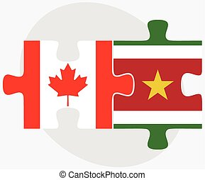Canada and Suriname Flags in puzzle isolated on white...