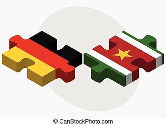 Germany and Suriname Flags in puzzle isolated on white...