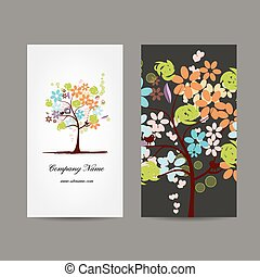Business cards design with floral tree
