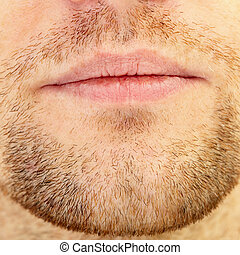 Beard and lips - Mens short beard and lips close up