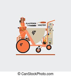 Plastering Machines - Vector logo of plaster stations....
