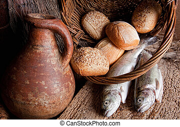 Holy multiplication - Wine, loaves of bread and fresh fish...