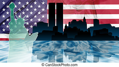Twin Towers New York - American patriotic illustration of...