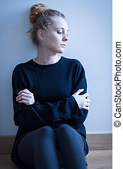 Teenage girl suffering from depression